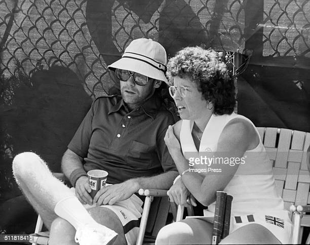 Musician Elton John and Billie Jean King photographed at the Forest Hills Tennis Stadium in New York City circa 1974