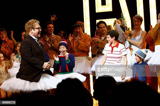 Musician Elton John on stage during the curtain call of Billy Elliot The Musical on Broadway at the Imperial Theatre on November 13 2008 in New York...