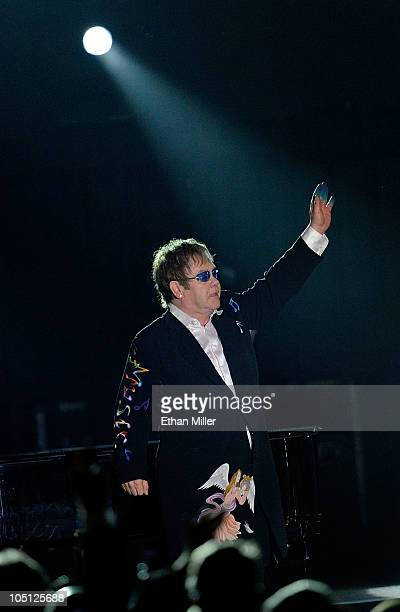 Musician Elton John performs onstage during Andre Agassi Foundation for Education's 15th Grand Slam for Children benefit concert at the Wynn Las...