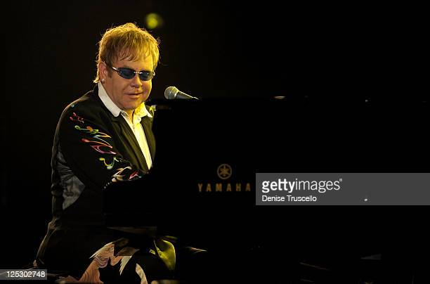 Musician Elton John performs onstage during the Andre Agassi Foundation for Education's 15th Grand Slam for Children benefit concert at the Wynn Las...