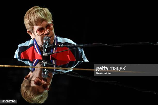Musician Elton John rehearses onstage for the 60th Annual GRAMMY Awards at Madison Square Garden on January 25 2018 in New York City