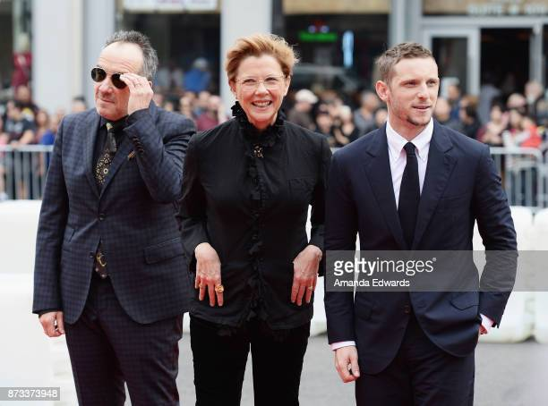 Musician Elvis Costello actress Annette Bening and actor Jamie Bell arrive at the AFI FEST 2017 Presented By Audi screening of 'Film Stars Don't Die...