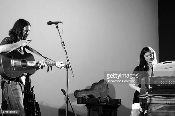 Musician Elvis Perkins and multiinstrumentalist Danielle Aykroyd perform at the Masonic Temple at Hollywood Forever Cemetery on March 13 2015 in Los...