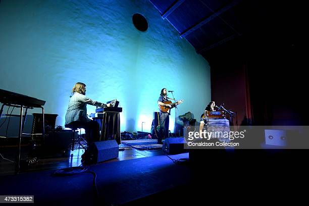 Musician Elvis Perkins performs with piano player Mitchell Robe and multiinstrumentalist Danielle Aykroyd at the Masonic Temple at Hollywood Forever...