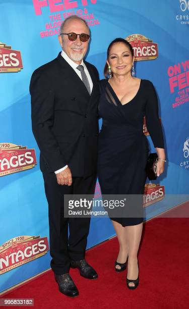 Musician Emilio Estefan and singer Gloria Estefan attend a celebration of the Los Angeles engagement of 'On Your Feet' the Emilio and Gloria Estefan...