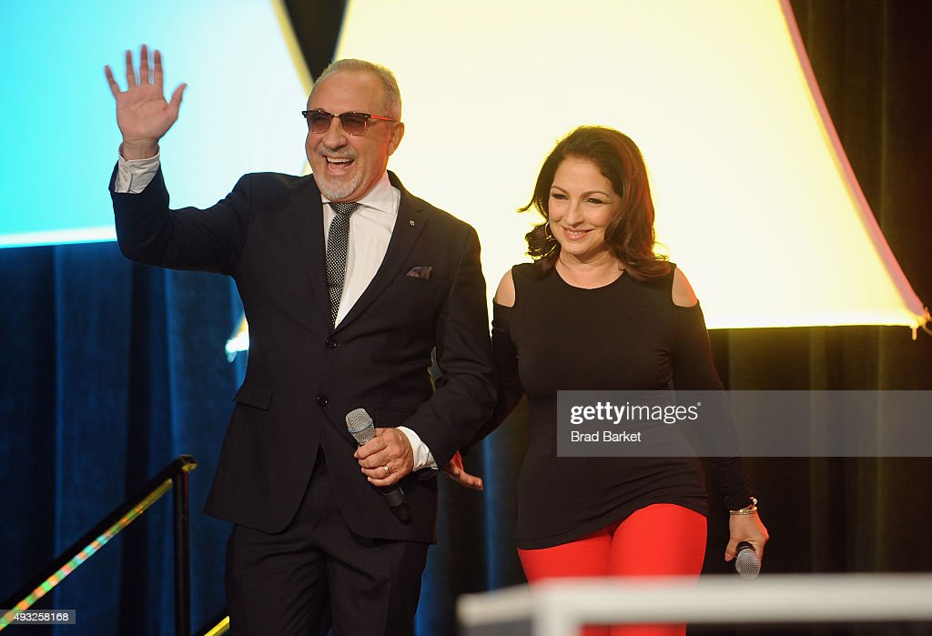 Musician Emilio Estefan (L) and Singer-songwriter Gloria Estefan speak onstage during Festival PEOPLE En Espanol 2015 presented by Verizon at Jacob Javitz Center on October 18, 2015 in New York City.