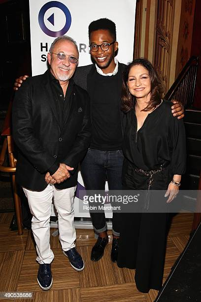 Musician Emilio Estefan Associate Editor at Fast Company KC Ifeanyi and Musician Gloria Estefan pose at the Get On Your Feet panel during Advertising...