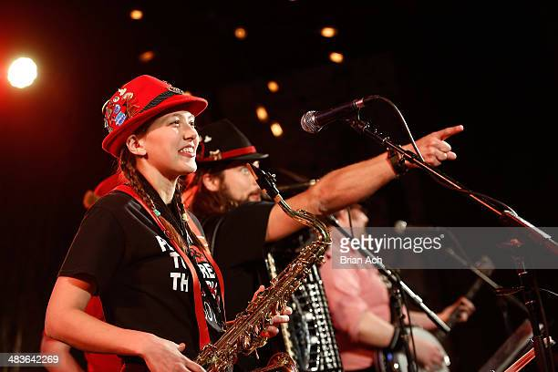 Musician Emily Burke of The Chardon Polka Band performs at the REELZ Channel upfront presentation at Hudson Hotel on April 9 2014 in New York City