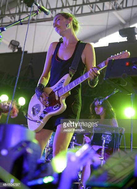 Musician Emily Kokal of Warpaint performs onstage during day 2 of the 2014 Coachella Valley Music Arts Festival at the Empire Polo Club on April 12...