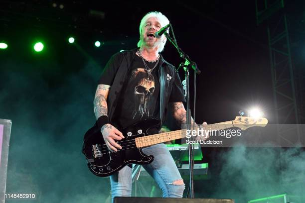 Musician Eric Brittingham founding member of the band Cinderella performs onstage during Day 1 of the 2019 Stagecoach Country Music Festival on April...