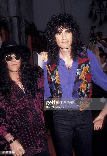 Musician Eric Carr of Kiss and Bruce Kullick attending the premiere party for Bill Ted's Bogus Journey on July 11 1991 at the Hollywood Palladium in...