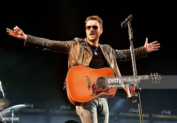 Musician Eric Church performs onstage during 2016 Stagecoach California's Country Music Festival at Empire Polo Club on April 29 2016 in Indio...