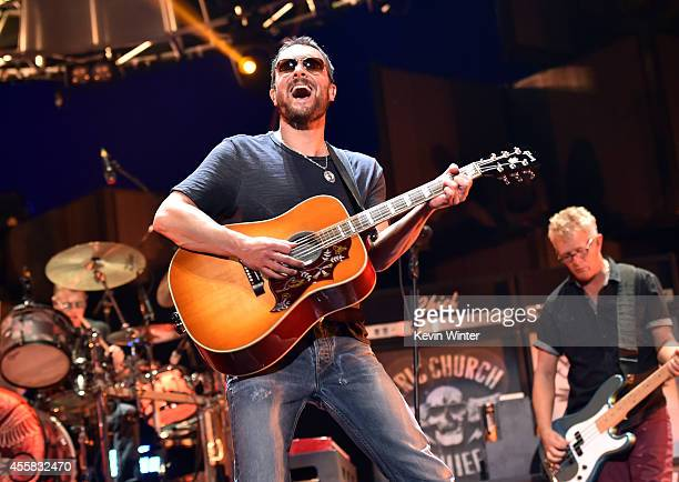 Musician Eric Church performs onstage during the 2014 iHeartRadio Music Festival at the MGM Grand Garden Arena on September 20 2014 in Las Vegas...
