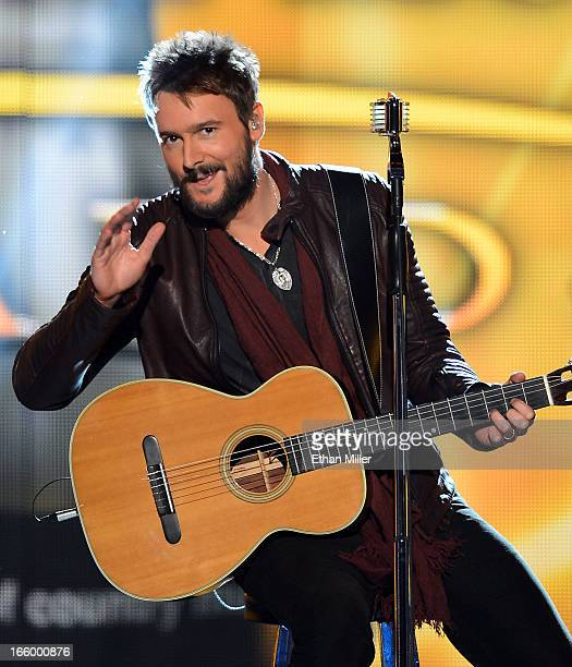 Musician Eric Church performs onstage during the 48th Annual Academy of Country Music Awards at the MGM Grand Garden Arena on April 7 2013 in Las...