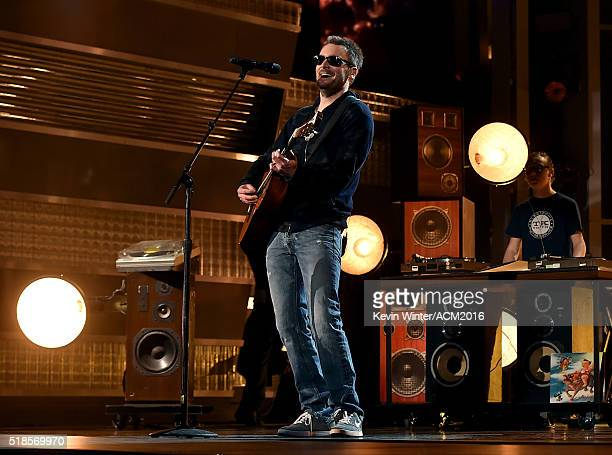 Musician Eric Church rehearses onstage during the 51st Academy of Country Music Awards at MGM Grand Garden Arena on April 1 2016 in Las Vegas Nevada