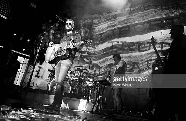 Musician Eric Church rehearses onstage during The 57th Annual GRAMMY Awards at the Staples Center on February 7 2015 in Los Angeles California