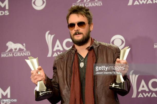 Musician Eric Church winner of Album of the Year for Chief poses in the press room during the 48th Annual Academy of Country Music Awards at the MGM...