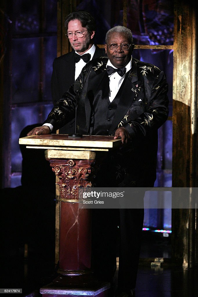 Musician Eric Clapton and B.B. King appear onstage at the 20th Annual Rock And Roll Hall Of Fame Induction Ceremony at the Waldorf Astoria Hotel March 14, 2005 in New York City.