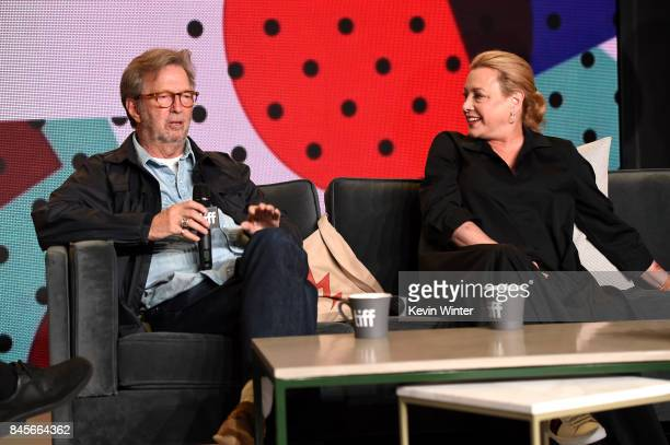 Musician Eric Clapton and director Lili Fini Zanuck speak onstage at 'Eric Clapton Life In 12 Bars' press conference during 2017 Toronto...
