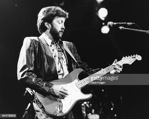 Musician Eric Clapton performing on stage at the Royal Albert Hall London January 9th 1987