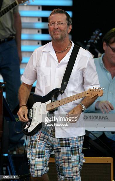 Musician Eric Clapton performs during the Crossroads Guitar Festival 2007 held at Toyota Park on July 28 2007 in Bridgeview Illinois