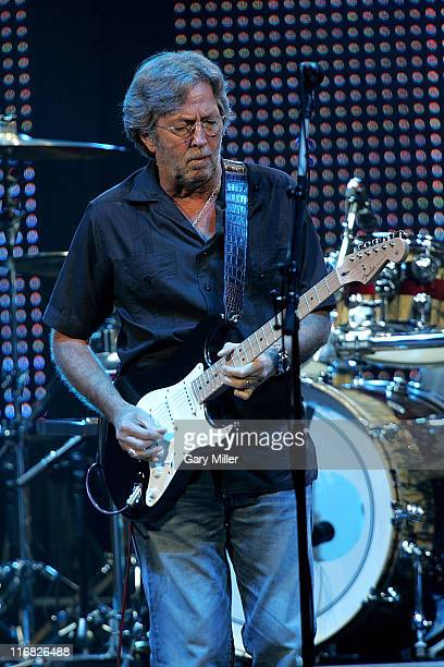 Musician Eric Clapton performs in concert at the American Airlines Center on June 23 2009 in Dallas Texas