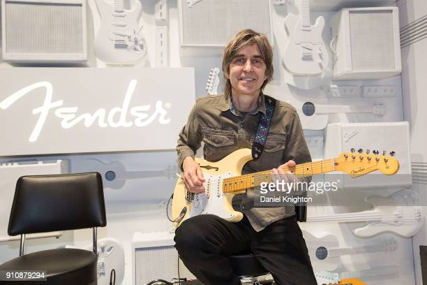 Musician Eric Johnson introduces the Fender Eric Johnson Signature Stratocaster Thinline at the Fender booth at The 2018 NAMM Show at Anaheim...
