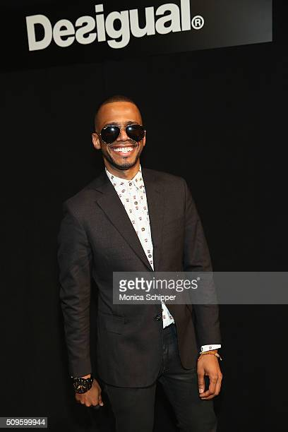 Musician Eric West poses backstage at Desigual fashion show during Fall 2016 New York Fashion Week The Shows at The Arc Skylight at Moynihan Station...