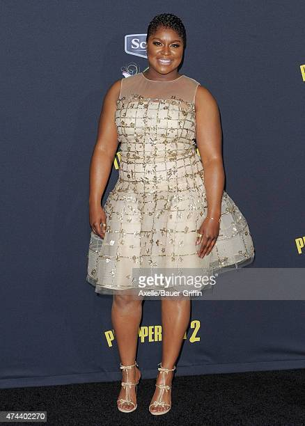 Musician Ester Dean arrives at the Los Angeles premiere of 'Pitch Perfect 2' at Nokia Theatre LA Live on May 8 2015 in Los Angeles California