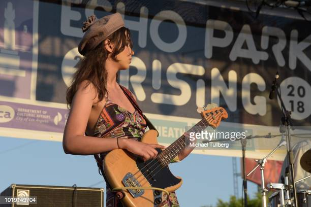 Musician Eva Chambers of Pinky Pinky performs during Day Three of Echo Park Rising 2018 on August 18 2018 in Los Angeles California