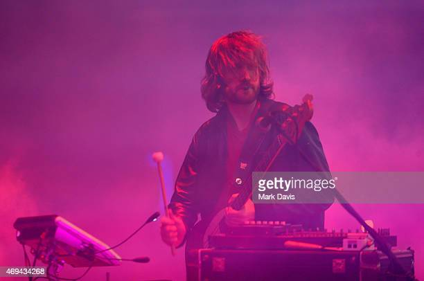Musician Evan Mast of Ratatat performs onstage during day 2 of the 2015 Coachella Valley Music Arts Festival at the Empire Polo Club on April 11 2015...