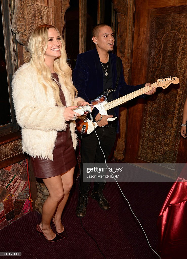 Musician Evan Ross (R) and actress/singer Ashlee Simpson attend the BandFuse: Rock Legends video game launch event at House of Blues Sunset Strip on November 12, 2013 in West Hollywood, California.