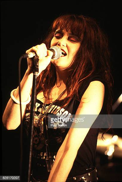 Musician Exene Cervenka of the band X performs Chicago Illinois October 23 1983