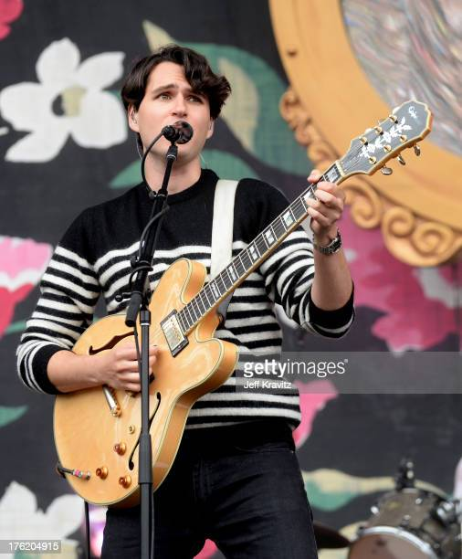 Musician Ezra Koenig of Vampire Weekend performs at the Lands End Stage during day 3 of the 2013 Outside Lands Music and Arts Festival at Golden Gate...
