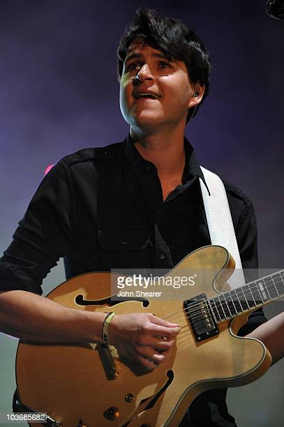 Musician Ezra Koenig of Vampire Weekend performs during Day 1 of the Coachella Valley Music Art Festival 2010 held at the Empire Polo Club on April...
