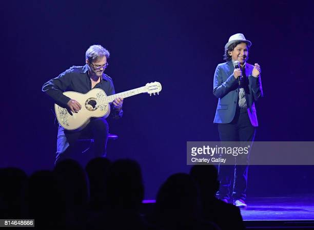 Musician Federico Ramos and actor Anthony Gonzalez of COCO perform the song 'Remember Me' from COCO during the Walt Disney Studios animation...