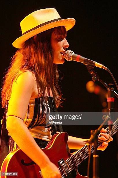 Musician Feist performs during a concert to benefit Celebrate Brooklyn at the Prospect Park Bandshell on July 9 2008 in the Brooklyn borough of New...