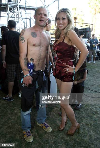 Musician Flea and Etty Farrell pose backstage during day three of the Coachella Valley Music Arts Festival 2009 held at the Empire Polo Club on April...