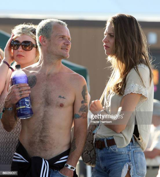 Musician Flea and wife Frankie Rayder backstage during day three of the Coachella Valley Music Arts Festival 2009 held at the Empire Polo Club on...