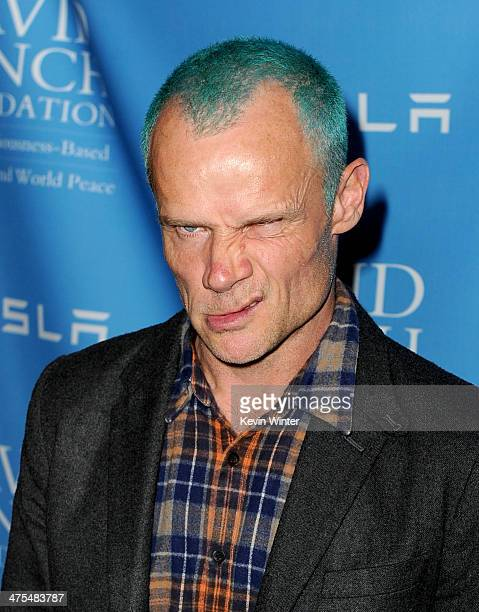 Musician Flea arrives at the David Lynch Foundation Gala Honoring Rick Rubin at the Beverly Wilshire Hotel on February 27 2014 in Beverly Hills...