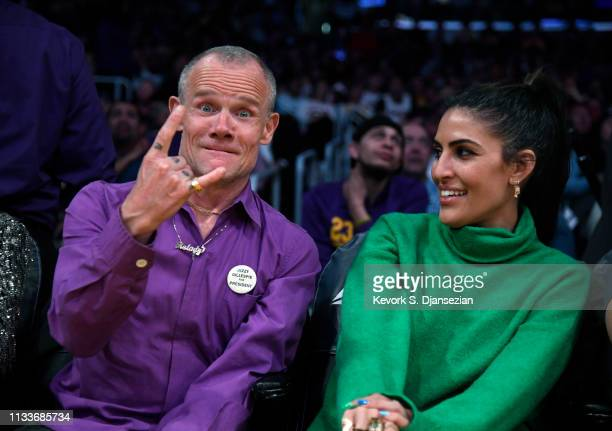 Musician Flea attends a basketball game between Charlotte Hornets and Los Angeles Lakers at Staples Center on March 29 2019 in Los Angeles California