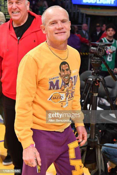 Musician Flea attends a basketball game between the Los Angeles Lakers and the Boston Celtics at Staples Center on February 23, 2020 in Los Angeles,...