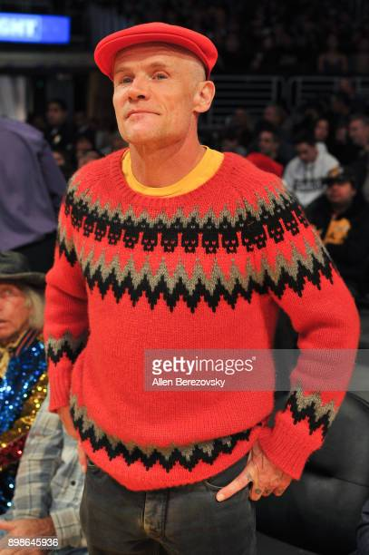 Musician Flea attends a basketball game between the Los Angeles Lakers and the Minnesota Timberwolves at Staples Center on December 25 2017 in Los...