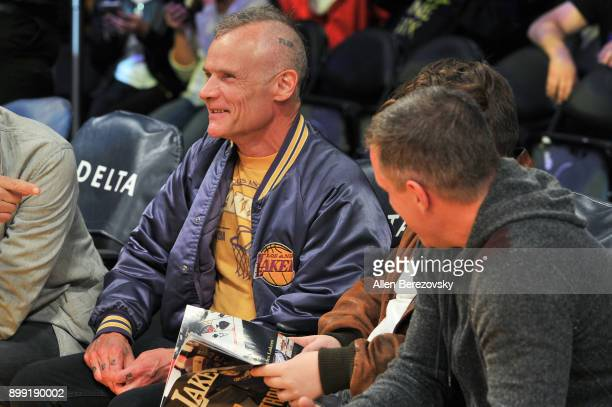 Musician Flea attends a basketball game between the Los Angeles Lakers and the Memphis Grizzlies at Staples Center on December 27 2017 in Los Angeles...