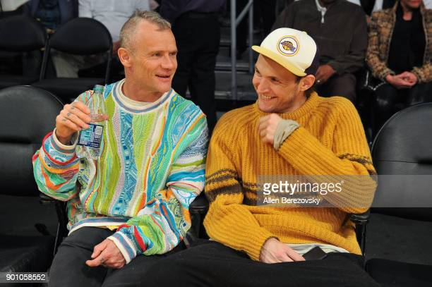 Musician Flea attends a basketball game between the Los Angeles Lakers and the Oklahoma City Thunder at Staples Center on January 3 2018 in Los...