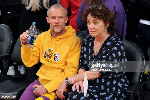 Musician Flea attends a basketball game between the Los Angeles Lakers and the Boston Celtics at Staples Center on January 23 2018 in Los Angeles...