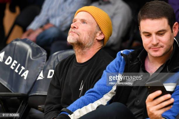 Musician Flea attends a basketball game between the Los Angeles Lakers and the Phoenix Suns at Staples Center on February 6 2018 in Los Angeles...
