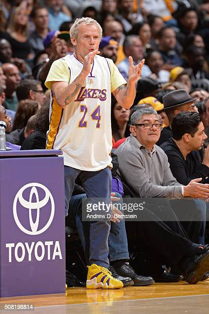 Musician Flea attends the Minnesota Timberwolves game against the Los Angeles Lakers on February 2 2016 at STAPLES Center in Los Angeles California...