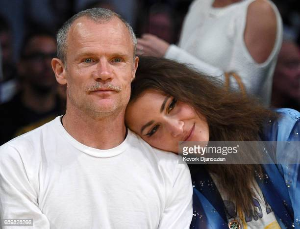 Musician Flea attends the Washington Wizards and Los Angeles Lakers basketball game at Staples Center March 28 2017 in Los Angeles California