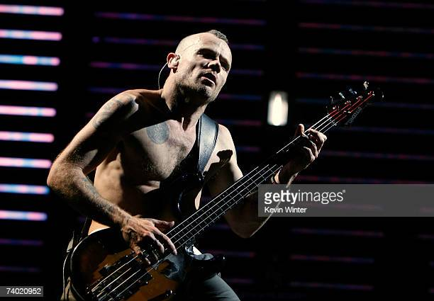 """Musician Flea from the band """"Red Hot Chili Peppers"""" performs during day 2 of the Coachella Music Festival held at the Empire Polo Field on April 28,..."""